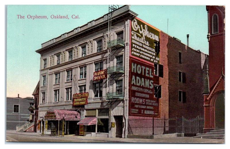 Early 1900s Orpheum Theatre Vaudeville Shows & Hotel Adams, Oakland, CA Postcard