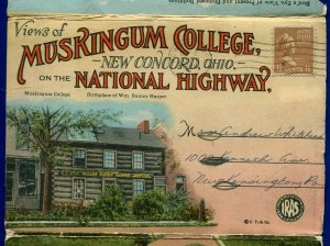 Muskingum College New Concord Ohio National Highway Postcard Folder