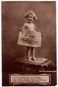 Valentine - Young Girl with a Sign