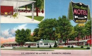 DUNREITH, IN Indiana    PINE  MANOR   MOTEL   c1950s   Roadside  Linen  Postcard