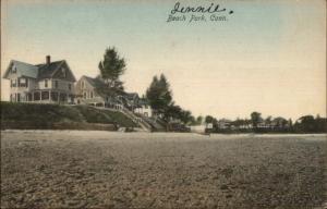 Beach Park CT Homes on Hill c1910 Postcard