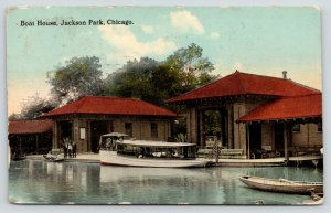Chicago Illinois~Jackson Park Boat House~Boats in Water~Men on Shore~1912