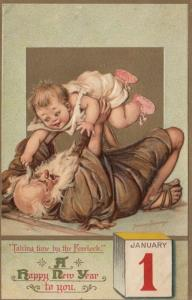 AS; Frances Brundage, 1900-10s; NEW YEAR, Father time playing with baby, Jan. 1