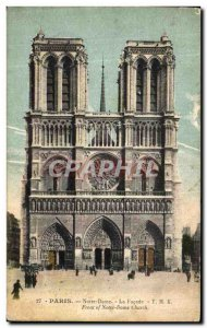Old Postcard Notre Dame Paris The Facade
