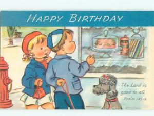 Pre-1980 DOG BESIDE KIDS LOOKING AT BIRTHDAY CAKE AC7115