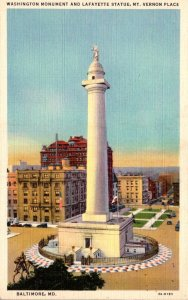 Maryland Baltimore Mt Vernon Place Washington Monument and Lafayette Statue C...