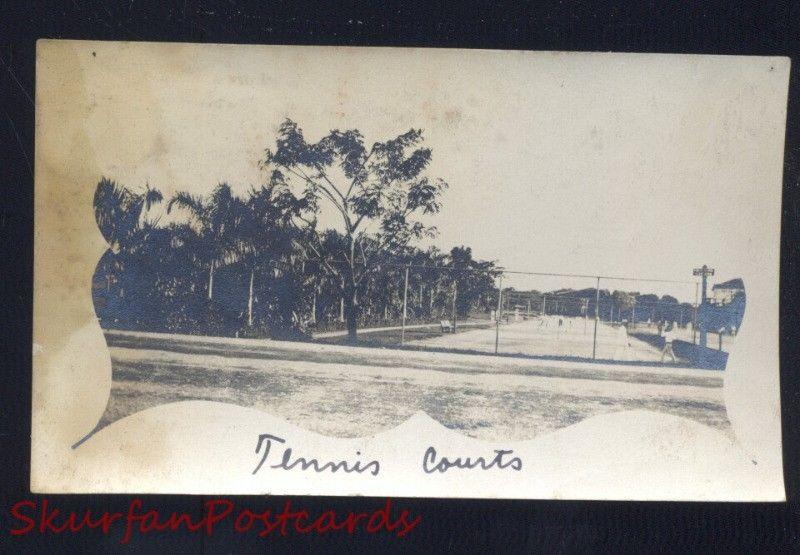 PHILLIPINE ISLANDS THE PHILIPPINES TENNIS COURTS WWI ERA REAL PHOTO PHOTOGRAPH