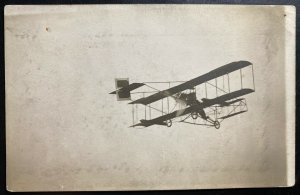Mint USA RPPC Real Picture Postcard Early Aviation Biplane In Flight