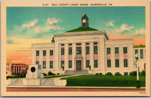 1940s Gainesville, Georgia Postcard HALL COUNTY COURT HOUSE Building View Linen