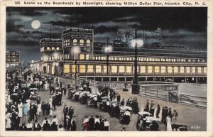 ATLANTIC CITY NJ~BOARDWALK BY MOONLIGHT-MILLION DOLLAR PIER-SANDER POSTCARD 1919
