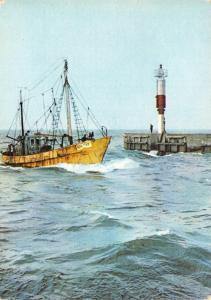 Postcard KOLOBRZEG Fishing Boat enters Port, Lighthouse, Poland #266