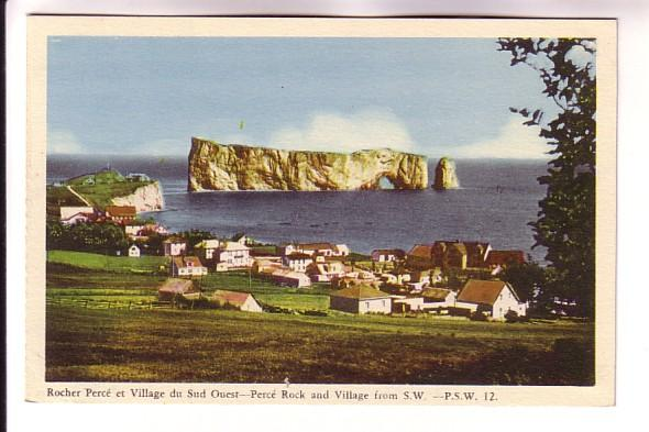 Perce Rock and Village from SW,  Quebec, PSW 12, PECO