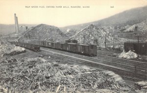 Pulp Wood Piles Oxford Paper Mills Rumford Maine Train Cars Photolux Postcard