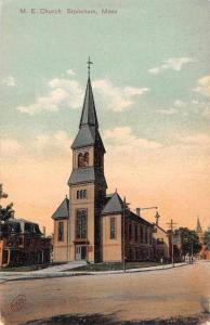 Stoneham Massachusetts ME Church Street View Antique Postcard K44801
