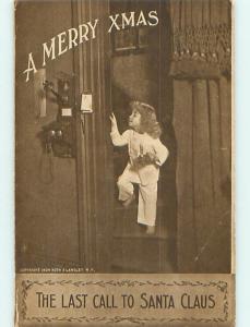 1909 christmas GIRL MAKES CALL TO SANTA ON OLD TELEPHONE r5114