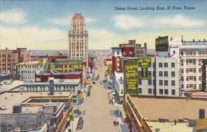 Texas El Paso Texas Street Looking East 1943 Curteich