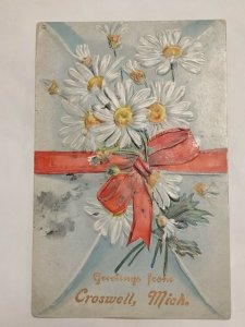 Postcard Greeting From Croswell Michigan 1908 Daisy Flowes Campbell Detroit 1022