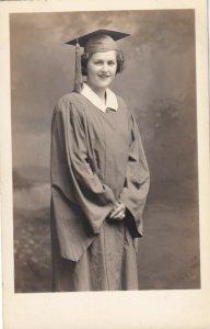 1940s RPPC AZO Studio Portrait - Woman in Graduation Gown & Cap
