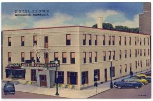 Rochester, Minnesota, View of The Hotel Brown, 1958