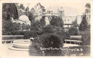 San Diego California plants and fountain Balboa Park real photo pc ZA440681