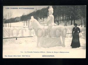 213654 FRANCE Vosges Snow statue Retournemer Vintage postcard