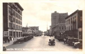 Salem Oregon~State Street~Dentist~US National Bank~Baby Chix~1920s Cars~RPPC