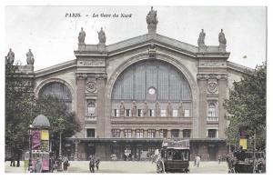 Paris France Gare du Nord Railway Train Station RR Postcard