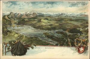 Gruss vom Bodensee Aerial View Map Switzerland c1910 Postcard