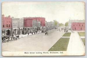 Rochester Indiana~Main Street Looking North~Crowded Sidewalks~Horse Buggies~1912
