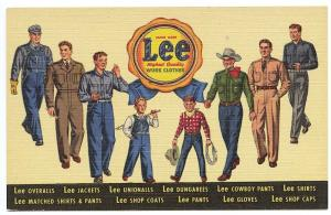 Newark NJ Lee Work Clothes Dungarees Unionalls Men Curteich Linen Postcard