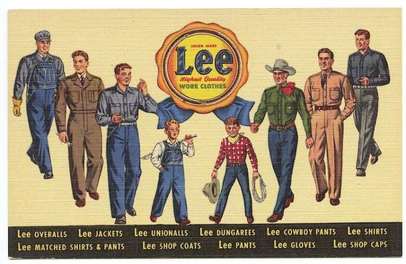 Newark NJ Lee Work Clothes Dungarees Unionalls Men Curteich Linen Postcard