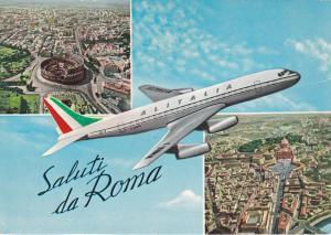 ALITALIA Airplane over Rome , Italy , PU-1964