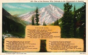 Colorado, CO, The Playground of America, Linen Vintage Postcard g8395