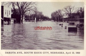 flooded DAKOTA AVE. SOUTH SIOUX CITY, NE. April 13, 1952 Photo by Walter E Beggs