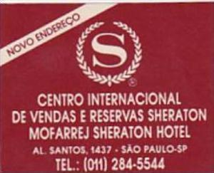 BRASIL SAO PAULO SHERATON HOTEL VINTAGE LUGGAGE LABEL