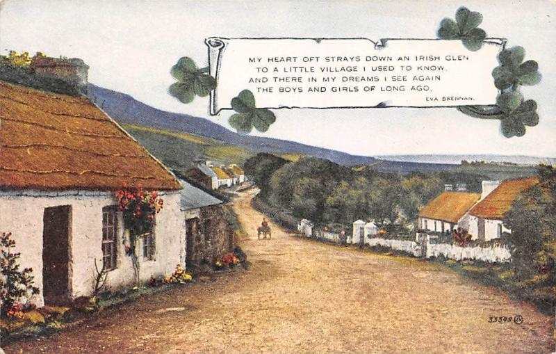 Ireland Village, My Heart oft Strays Down an Irish Glen Valesque Postcard