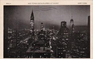 New York City Midtown Skyscrapers At Night 1938