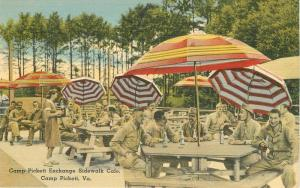 Camp Pickett Virginia Sidewalk Cafe 1940s Postcard Umbrellas Tichnor 11611