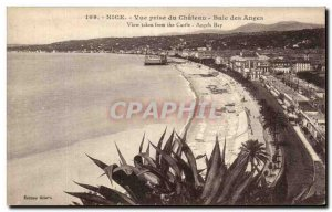 Postcard Old Nice view Baie des Anges Chateau Socket