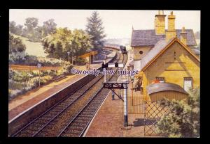 ry1677 - 1st Train of the Day at Arley Station. Artist - Mike Turner - postcard