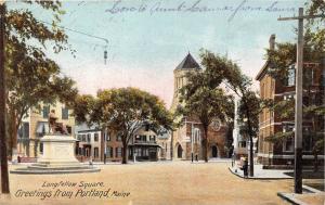 25253 ME, Portland, Longfellow Square, monument off to left