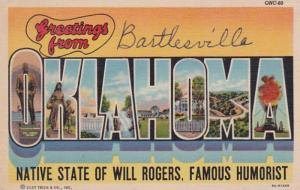Oklahoma Greetings From Bartlesville Large Letter Linen Curteich