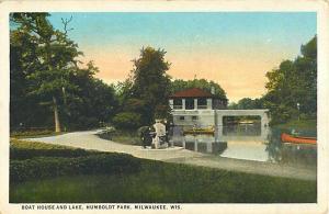 W/B Boat House & Lake Humboldt Park Milwaukee Wisconsin WI
