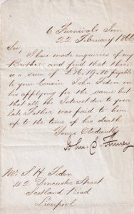 1866 Scotland Road Liverpool Victorian Receipt