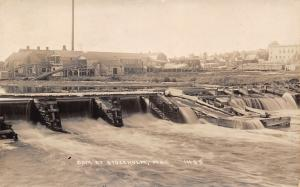 Stockholm Maine~Wooden Dam~Warehouses With Chutes to Waterfront~1940 RPPC
