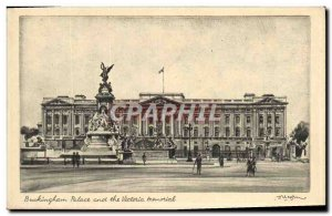 Postcard Old Buckingham Palace and the London memorial Victori
