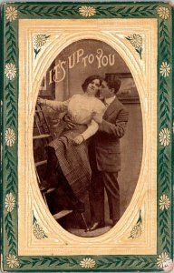 VTG Postcard Valentine Romance Humor It's Up To You Art Deco Unposted 1861