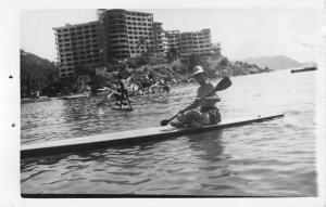 Acapulco Mexico Paddle Boating Real Photo Antique Postcard K29214