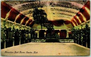 1911 Omaha, Nebraska Postcard AKSARBEN BALL ROOM Interior View / Dance Floor