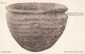 Neolithic Pottery Bowl Thames At Mortlake British Museum Antique Postcard